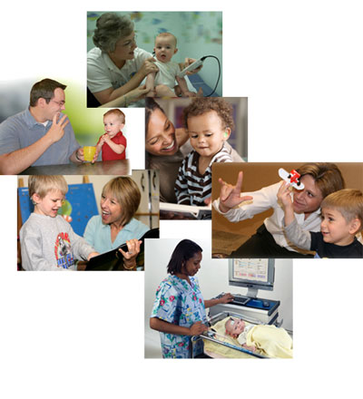 a montage of photos showing newborn hearing screenings, signing, and learning activities